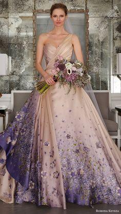 romona keveza bridal spring 2017 one shoulder sweetheart silk organza ball gown wedding dress (rk7413) mv blush color violet print