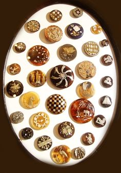 Beautiful selection of vintage buttons in brown tones.