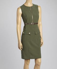 Look what I found on #zulily! Spruce Pocket Belted Zip-Up Sleeveless Dress by Sharagano #zulilyfinds