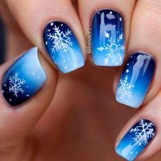Gorgeous blue and snowflake nail art design, winter nail art design - Nageldesign - # Black Nail Designs, Winter Nail Designs, Xmas Nails, Holiday Nails, Christmas Nails 2019, Winter Nail Art, Winter Nails, Winter Art, Winter Snow