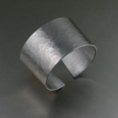Eye-catching Hammered Aluminum Cuff Bracelet  - 10th Anniversary Gift - Aluminum Cuff - Handmade Jewelry by John S Brana by johnsbrana https://www.etsy.com/listing/181758727/hammered-aluminum-cuff-bracelet-10th?ref=rss