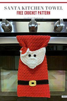 Free Crochet Towel Pattern - Santa Claus Kitchen Towel by A Crocheted Simplicity kostenlos häkeln Free Crochet Santa Claus Towel Crochet Towel Holders, Crochet Dish Towels, Crochet Towel Topper, Crochet Kitchen Towels, Crochet Dishcloths, Crochet Granny, Crochet Home, Crochet Crafts, Crochet Projects