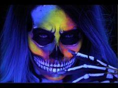 Blacklight Skull Makeup - #skull #makeup #blacklight #neon #halloweentutorial
