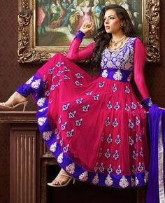 $102.87 Pink  Net Embroidered Anarkali Style Salwar Suit 24781