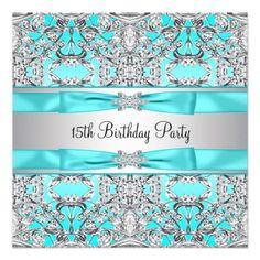 Elegant Silver Teal Blue Quinceanera Custom Invitations $1.90