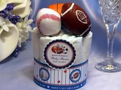sports theme for baby shower | SPORTS themed mini diaper cake centerpiece baby shower favors | LMK ...