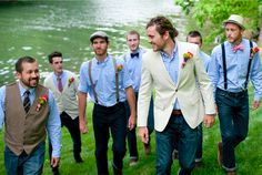 Well-Groomed: Well-Groomed Groom: Southern Comfort ---- LOVE the guy in the vest and the guy in suspenders w/hat. Now to find a tweed vest...