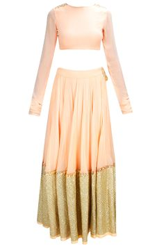 Peach sequins embroidered lehenga set available only at Pernia's Pop-Up Shop.