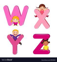 Cartoon kids with wxyz letters Royalty Free Vector Image V Alphabet, Alphabet Crafts, Alphabet For Kids, Cartoon Dolphin, Cute Cartoon Animals, Cartoon Kids, Mango Vector, Teacher Binder Covers, Apple Vector