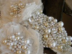 Glamourous Crystal Wedding Garter Set Haute by TheChicaBoutique, $135.00