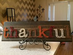 Thankful String Art Ready to ship by StringsbySamantha on Etsy Crafts To Do, Fall Crafts, Holiday Crafts, Wood Crafts, Arts And Crafts, Christmas Diy, Craft Day, Craft Night, Hilograma Ideas