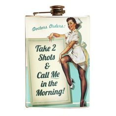 Take 2 Shots Novelty Stainless Steel Flask