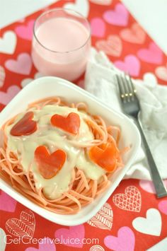 Valentine Dinner Ideas Pink Pasta and Red Pepper Hearts