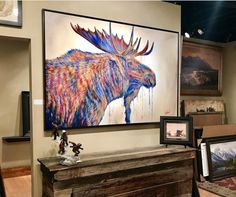 """The Thinker"" 48x72"" SOLD | Park City Fine Art (Park City, UT)! #TeshiaArt Park City, Galleries, Moose Art, Original Paintings, Art Gallery, Fine Art, Animals, Design Inspiration, Drawings"