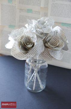 DIY Book Page Flower Tutorial--Maybe for the kids for Mothers Day?