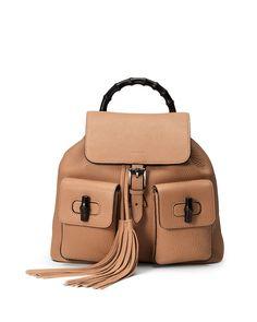 Gucci Bamboo Sac Medium Leather Backpack, Beige