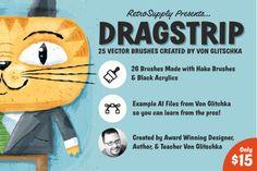 Dragstrip | Illustrator Brush Kit by RetroSupply Co. on @creativemarket