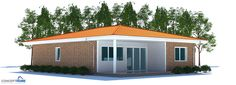 Small House Plan to tiny lot with two bedrooms and covered terrace. Affordable to build.
