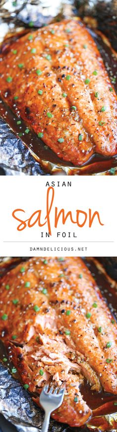 Asian Salmon in Foil - The best and easiest way to make salmon in foil - and you won't believe how much flavor is packed right in! #recipe