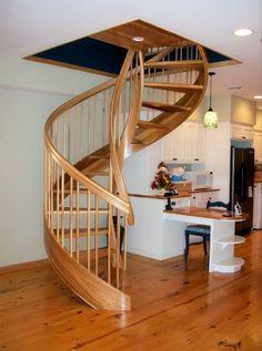 Diseño escalera de caracol de madera