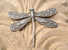 Intricate details on silver; gorgeous dragonfly #brooch. #stuff4uand4u #accessories