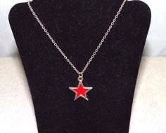 Vintage Park Lane Red Star Necklace Gold toned by streetcrossing