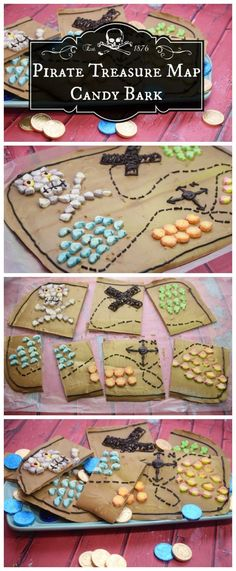 Make this Pirate Treasure Map Candy Bark! Perfect for party treats or just for dessert! Pirate Cookies, Pirate Treasure Maps, Candy Bark, Baking With Kids, Diy Cake, Party Treats, Pirate Party, 4th Birthday, Party Time