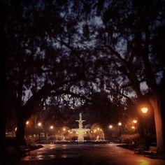 Forsyth Park Fountain at dusk in Savannah, GA