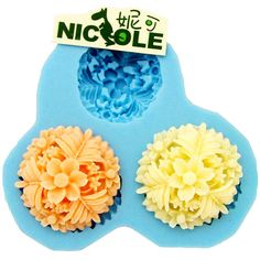A096 Flower Cabochon 3 Cavity Flexible Silicone Mold Mould for Crafts, Jewelry, Scrapbooking,  (resin, Utee, pmc, polymer clay)