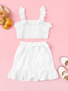 To find out about the Girls Ruffle Strap Top & Wrap Skirt Set at SHEIN, part of our latest Girls Two-piece Outfits ready to shop online today! Crop Top Outfits, Summer Outfits, Girl Outfits, Casual Outfits, Cute Outfits, Fashion Outfits, Teen Fashion, Fashion News, Womens Fashion