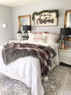 Easy Holiday Bedroom Tips christmas decorations christmas bedroom christmas bedroom ideas christmas bedroom lights christmas bedding linen bedding christmas linen bedding how to decorate your bedroom Cheap Home Decor, Christmas Home, Easy Home Decor, Holiday Room, Holiday Bedroom, Bedroom, Home Decor, Christmas Room Decor, Christmas Bedding