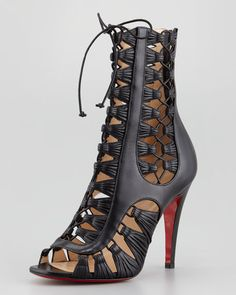 Christian Louboutin - Azimut Caged Leather Bootie, Black