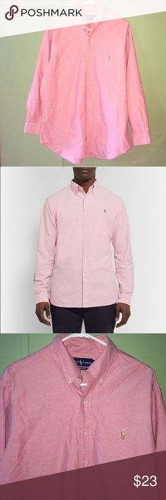 Polo Ralph Lauren Men's Oxford Shirt Polo Ralph Lauren Pink Oxford Shirt Neck Sz 17, 32/33 Classic Fit Long Sleeves Excellent Used Condition Polo by Ralph Lauren Shirts Dress Shirts