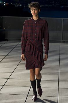 Thakoon | Fall 2016 Ready-to-Wear | 02 Red checkered long sleeve shirt and mini skirt
