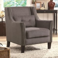 Coaster Accent Seating Accent Chair with Nailhead Trim and Accent Pillow - Coaster Fine Furniture