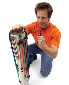 Stretch cords around PVC pipe    Elastic cords can quickly become a tangled mess. Find the one you need at a glance with this handy rack made from 3- or 4-in. PVC pipe. Just drill 1/2-in.- diameter holes in the pipe to match the slightly stretched lengths of your cords. Keep it in your garage, trunk or shop, out of the reach of children.