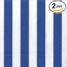 Ideal Home Range 3-Ply Paper Lunch Napkins, Dark Blue and White Big Stripes, 20-Count (Pack of 2)
