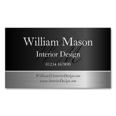 Black Foil & Steel Effect, Monogram Business Card Business Card Template