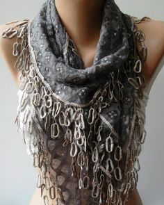 Grey  Lace and Elegance Shawl / Scarf  with Lace Edge by womann, $19.90