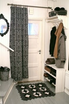 Back door/ garage mud room Mudroom, Front Room, Hallway Inspiration, Custom Homes, Home Decor, House Interior, Home Deco, Front Door Curtains, Tiny Apartments