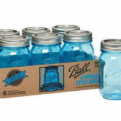 Ball Pint Mason Jars w/Lids Canning Vintage Heritage Collection Blue Tinted Mason Jars, Blue Mason Jars, Azul Vintage, Vintage Stil, Vintage Green, Ball Canning Jars, Ball Jars, Mason Jar Bathroom, Bathroom Bin