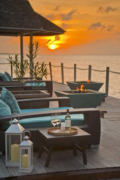Oceanside fire pits at Sandals Grande Riviera in Jamaica