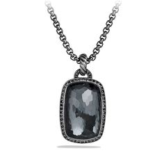 Albion Pendant with Gray Orchid and Black Diamonds