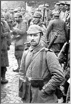 The German soldiers look quite sullen here. He had reason to be. After weeks of long marches and numerous fights the German advance towards Paris came to a stand-still.