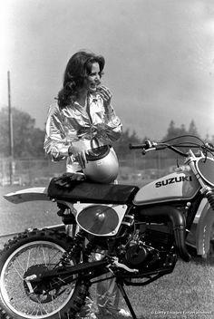 Charlie's Angels, Jaclyn Smith, and her Suzuki  #women #motorcycle #rebelgirl