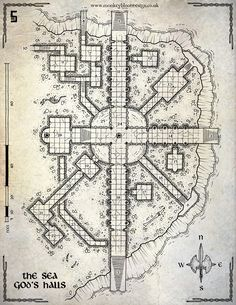 The Sea God's Hall map cartography   Create your own roleplaying game material w/ RPG Bard: www.rpgbard.com   Writing inspiration for Dungeons and Dragons DND D&D Pathfinder PFRPG Warhammer 40k Star Wars Shadowrun Call of Cthulhu Lord of the Rings LoTR + d20 fantasy science fiction scifi horror design   Not Trusty Sword art: click artwork for source
