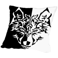 "East Urban Home Wolf Animal Wolves Cotton Throw Pillow Size: 16"" H x 16"" W x 2"" D"