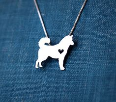 Husky necklace, sterling silver hand cut pendant, with heart, tiny dog breed…