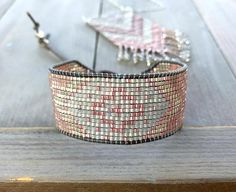 Loom Woven Silver to Rose Gold Tribal Chevron beaded