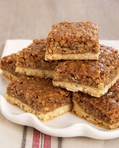 Caramel Pecan Bars Recipe ~ Says: These little beauties are so buttery and utterly delicious.
